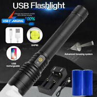 Super Bright XHP90/70/50 LED Flashlight USB Rechargeable Tactical ZOOMable Torch