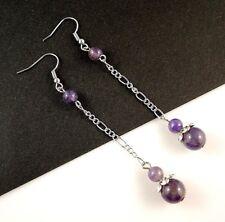 1 Long Dangle Pair of Platinum Plated Amethyst Gemstone Earrings #B76