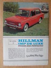 HILLMAN De Luxe Mark 2 original 1965 GB Mkt Brochure Publicitaire Brochure