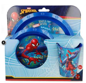 New 2019 Design Kids Marvel Spiderman 3Pc Breakfast Set Plate Tumbler and Bowl