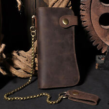 Men's Leather Bifold Card Holder Checkbook Trucker Biker Long Iron Chain Wallet