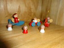 Vintage Taiwan Angel Driving Red Car Christmas Tree Ornament Wood Wooden Lot