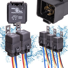 Online Led Store 5 Pack 40/30 Amp Waterproof Relay Switch Harness Set - 12V Dc