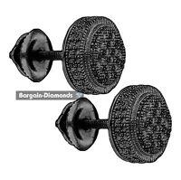 black diamond .02 carat 7.7 mm unisex gunmetal black earrings 925 screwback men