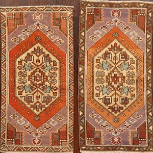 Set of 2 Geometric Anatolian Turkish Oriental Area Rug WOOL Hand-Knotted 2'x3'