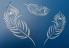 Scrapbooking - STENCILS TEMPLATES MASKS SHEET - Peacock Feathers x 3 Stencil