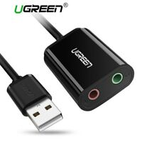 Ugreen USB Externe Soundkarte Audio Adapter, Plug & Play für PC Notebook Schwarz