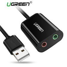 Ugreen USB Externe Soundkarte Audio Adapter, Plug & Play für PC Notebook Schwarz