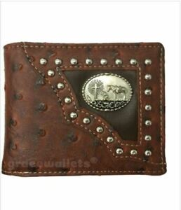 Cross Praying Cowboy Mens Wallet Texas Western Bifold W012-33 Brown