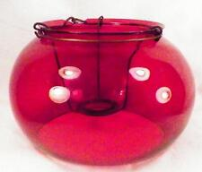 Antique Cranberry Glass Lamp Shade with Spider for Kerosene Hanging As Is