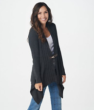 Denim & Co. Cable Knit Long-Sleeve Cardigan w/Buckle Closure -Charcoal Heather/M