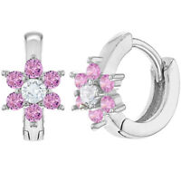 "Rhodium Plated XS Huggie Pink Crystal Flower Baby Toddler Earrings 0.27"""