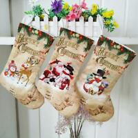 Merry Christmas Stocking Large Santa Elk Candy Gift Bag Xmas Tree Hanging Decor