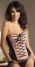 NEW Be Wicked Sophia Lace-Up Boned Corset Black W/ Peach Taffeta and Buckles 36