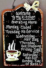 COFFEE CUP Kitchen Operating Hours SIGN Wall Art Hanger Hanging Plaque Decor