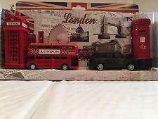 Metallic London Red Bus Taxi Phone & Post Box Pencil Sharpeners Souvenir Gift
