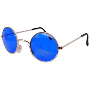Runde Lennon Hippie Nickelbrille Sonnenbrille UV Gestell Metall Kupfer Blau