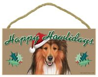 Collie Happy Howlidays Santa Hat Wood Funny Christmas Dog Sign Plaque USA Made