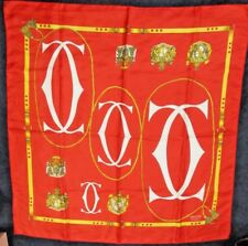"Estate Vintage CARTIER Paris RED & GOLD Logo Silk SCARF 35"" Sq (#7 of 8)"