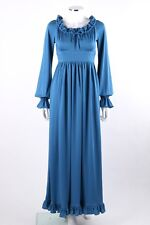 Vtg Victor Costa c.1970s Blue Drawstring Collar Bishop Sleeve Maxi Dress