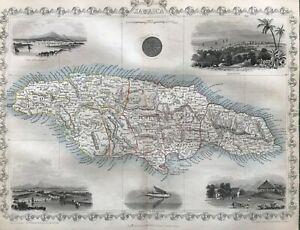 1851 Antique Map; Jamaica by John Tallis / Rapkin