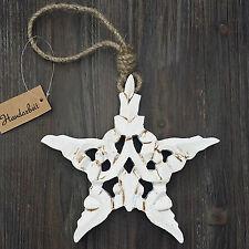"""""""Estrella De Madera Blanco Shabby Decoración ventana árbol Navidad"""