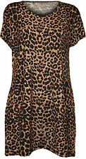 Animal Print Scoop Neck Short Sleeve Tops & Shirts for Women