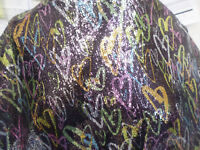 1 yd print  sequin  fabric good weight 4 way stretch  spandex lycra J5012