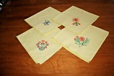 Vintage Estate Dinner Napkins Sunny Yellow with Floral Embroidery Set/4 NEW