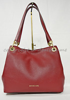 NWT Michael Kors Raven Large Leather Hobo / Shoulder Bag in Cherry Red