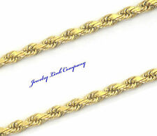 "14K Solid Yellow Gold 3mm Diamond Cut Rope Chain 16"" 10.5 grams w/ barrel claps"
