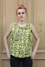 Sommer Shirt Top ärmellos gelb schwarz yellow 90er True Vintage 90s Fashion NOS