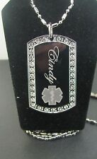 PERSONALIZED MEDICAL ALERT CZ  Dog Tag Pendant Necklace