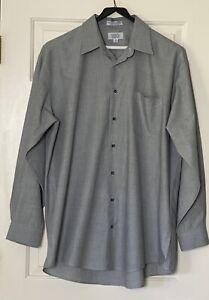 Men's Black /White Damon Long Sleeve  Dress Shirt Size 18 Tall 36-37 Combed