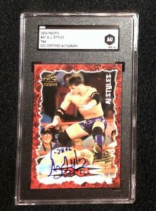 AJ Styles Signed 2004 Pacific TNA Red Rookie Card WWE SGC Certified AU1009764