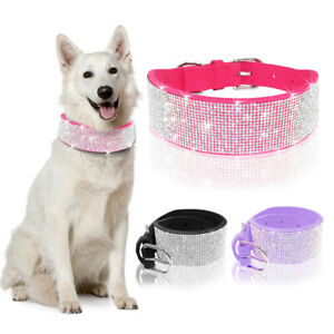 Suede Leather Medium Large Dog Collar Bling Rhinestone Pet Wide Necklace Pink