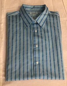 Gene Meyer Men's Button Front Shirt XL Marine Blue Stripe Long Sleeve Silk Blend