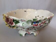 "VINTAGE SCHUMANN (?) RETICULATED DRESDEN FLOWERS 10 3/4"" OVAL BOWL G31"