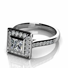 Special Offer.!! 1.00Ct Princess & Round Diamond Engagement Ring , 950 Platinum