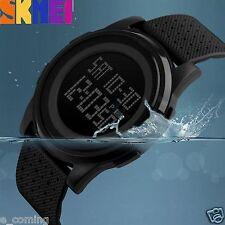 SKMEI Black Mens Date Diving Luminous Calendar Rubber Digital Sports Wrist Watch