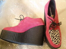 UNDERGROUND Beetle Creeper LEATHER Pink Animal Print Platform Wedge UK 7 Mod