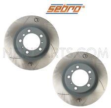 For Porsche 911 Set of Rear Steel Disc Brake Rotors Vented Slotted Sebro Sport
