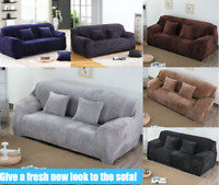 Stretch Fur Fabric 3 Seater Couch Protector Sofa SlipCover Pet Lounge Cover