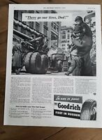 1942 WWII era BF Goodrich tires military trucks tank Cannon soldiers parade ad
