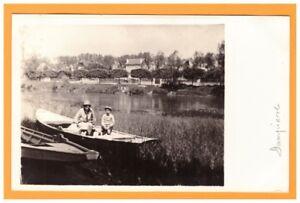 DAMPIERRE-en-BURLY (45) BARQUE animée à l'ETANG & VILLAS / Carte-photo en 1928