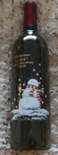 Collectible Christmas 2017 Wine Bottle Guglielmo Family Winery  etch SNOWMAN
