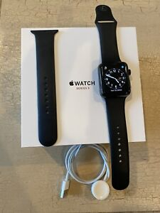 Apple Watch Series 3 42mm Stainless Steel CasE Black Sport Band Cellular LTE