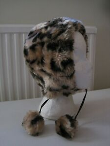 Animal Print Polyester/Acrylic Fur Bonnet, Fully Lined, Fits Child/Small Adult