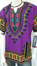 Hippie Boho Tribal African Dashiki Cotton T Shirt Kaftan Purple Mexican Poncho