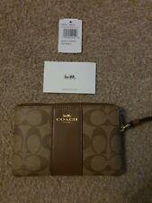 Women's COACH Brown Leather Monogrammed Wristlet Purse Wallet new
